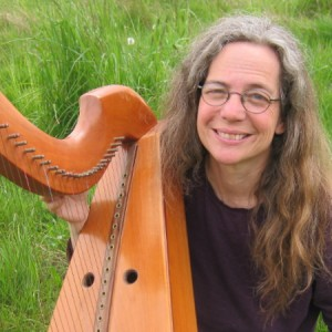 Jane Valencia and her wire-strung harp
