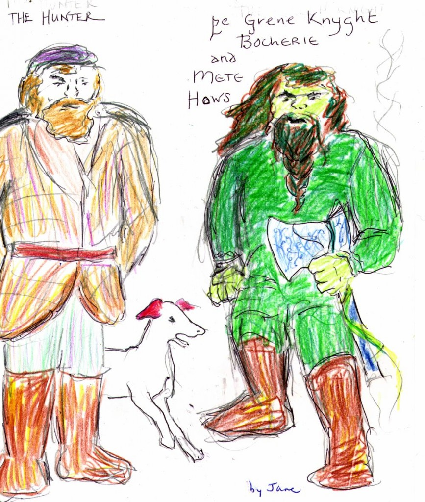 Bert the Gamesmaster, Red Hat the Hunting Hound, and the Green Night - a quick drawing by Jane Valencia (c) 2006